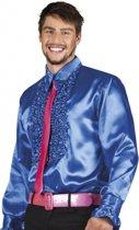 Voordelige blauwe rouche blouse M