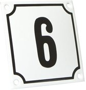 Emaille huisnummer wit/zwart nr. 6 10x10cm