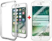 iPhone 8 Plus Transparant Barely There TPU Case + Tempered Gorilla Glass / Glazen Screenprotector 0,3 mm | iPhone 8 Plus Hoes / Bumper + Glazen Tempered Screenprotector
