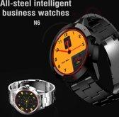 N6 Smart Watch 1.3 inch TFT scherm MTK2502C Bluetooth4.0  RVS horlogebandje  steun Heart Rate Monitor & stappenteller & slaap Monitor & sedentair Reminder(Black)