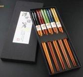 Chopsticks - Hout - 5 paar - 22,5 cm - Japanse stijl - Sushi Giftset