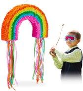 relaxdays Pinata regenboog - trek pinata - piñata - bont - om zelf te vullen