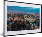 Foto in lijst - Luchtfoto van de miljoenenstad Beijing fotolijst zwart met witte passe-partout klein 40x30 cm - Poster in lijst (Wanddecoratie woonkamer / slaapkamer)