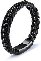 Victorious Zwart Gevlochten Leer Zwart Roestvrijstaal Spiraal Leather Collections – Mannenarmband – 21cm