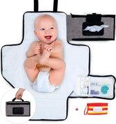 Compact Verschoonmatje 4-in-1 voor Onderweg/ Travel - Luier Etui - Afritsbare voorzakje voor Billendoekjes/ Monddoekjes - Kofferbak Organizer (Baby) - Verschoningsmatje Travel - Waterbestendig - Etui voor Vochtige Doekjes