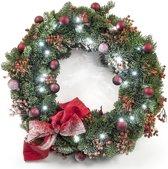 Kerstkrans roseberry met kerstverlichting