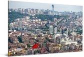 Overzicht over de huizen en gebouwen van Ankara Aluminium 90x60 cm - Foto print op Aluminium (metaal wanddecoratie)