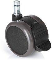 hjh office - Bureaustoelwielen - Instelbare klem voor harde vloeren - 11mm / 65mm - Set van 5 - Zwart