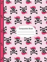 Pirate Girl Skulls and Bones Composition Notebook Dot Grid Paper