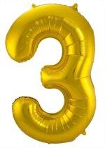Gouden Folieballon Cijfer 3 - 86 cm