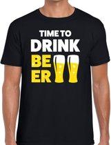 Time to drink Beer tekst t-shirt zwart voor heren - heren feest t-shirts M
