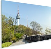 Oude vestingsmuur en de Zuid-Koreaanse N-Seoul Tower in Azië Plexiglas 90x60 cm - Foto print op Glas (Plexiglas wanddecoratie)