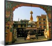 Foto in lijst - Kleurrijke foto van het Durbarplein fotolijst zwart 40x30 cm - Poster in lijst (Wanddecoratie woonkamer / slaapkamer)