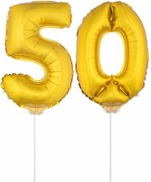 Gouden opblaas cijfer 50 op stokjes - verjaardag versiering / jaar