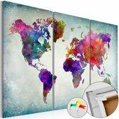 Afbeelding op kurk - Wereld in kleuren, wereldkaart, Multi gekleurd, 3 Maten, 3luik