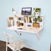 Bureau - aan de muur - Verstelbare planken - Opbergruimte - Wit