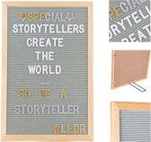 LEDR® Letterbord 30 x 45 Grijs – Inclusief 354 letters, symbolen & emoticons – Inclusief verstelbaar standaard - Eiken houten frame