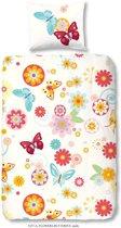 Good Morning 5237-A Bloemen en vlinders - kinderdekbedovertrek - 140x200/220 cm  - 100% katoen - multi