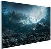 Donkere rotsen onder water Glas 90x60 cm - Foto print op Glas (Plexiglas wanddecoratie)