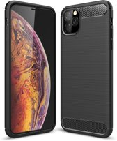 Mobigear Brushed Carbon Fiber Shockproof Hoesje Zwart iPhone 11 Pro Max