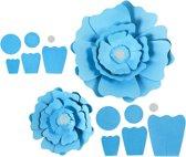 Papieren bloemen, d: 15+25 cm, 230 gr, turquoise, 2stuks