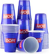 100 Blue Cups Dope Design - Blauwe Party Bekers dubbelzijdig bedrukt 500ml - Original Beer Pong