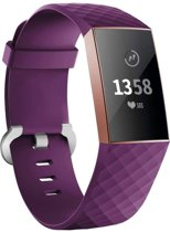123Watches.nl Fitbit charge 3 sport wafel band - donkerpaars - SM