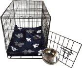 Topmast Hondenbench bench Small Zwart + Luxe Teddybont benchkussen Blauw voetprint 61 * 42 * 49 cm