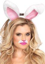 Leg Avenue A2811 Haarband met konijnenoren van pluche (Wit)