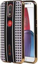 Motorola Moto G4 Hoesje M-Cases Ruit Design TPU Backcover Paars