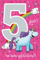 Cijferkaart met muziek 5 jaar! Van harte gefeliciteerd! Roze