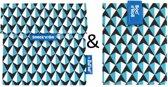 Roll'Eat Snack'n'Go en Boc'n'Roll Foodwrap Herbruikbaar Boterhamzakje - Tiles blue