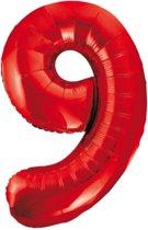 Cijfer 9 Rood Helium 86 cm