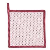 Clayre & Eef - Pannenlap - Met stippen en stipjes in wit met rood - 20 x 20 cm - 1 stuks