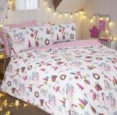 eenpersoons kerst dekbedovertrek met 1 kussensloop - Merry & Bright Pink