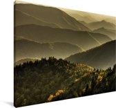 Uitzicht over de bergen bij de Blue Ridge Parkway in de VS Canvas 180x120 cm - Foto print op Canvas schilderij (Wanddecoratie woonkamer / slaapkamer) XXL / Groot formaat!