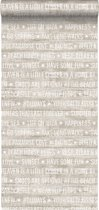 ESTA home behang zomerse quotes donker beige - 148640