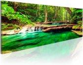 Schilderij Groene Waterval, groen/bruin, 1 deel, 3 maten