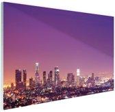 Los Angeles bij nacht Glas 180x120 cm - Foto print op Glas (Plexiglas wanddecoratie) XXL / Groot formaat!