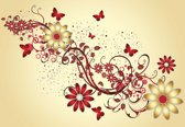 Fotobehang Flowers Butterflies Pattern Red | XL - 208cm x 146cm | 130g/m2 Vlies