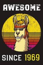 Awesome Since 1969: Llama Retro Sunshine Lined Journal and Vintage Happy Birthday Gift Notebook