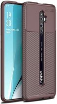 Teleplus Oppo Reno 2Z Case Negro Carbon Silicone Brown hoesje