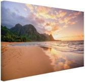 Kauai zonsondergang Canvas 120x80 cm - Foto print op Canvas schilderij (Wanddecoratie)