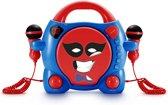 Draagbare cd-speler met 2 karaoke microfoons en stickers - Blauw met Rood