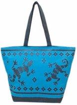 Damestas strandtas Gekko met zomer/reptielen print blauw/donkerblauw 58 cm - Dames handtassen - Shopper - Boodschappentassen