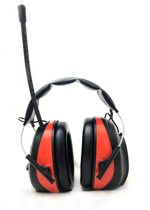 digitale gehoorbeschermer met MP3 radio en AUX ingang - oorkappen - gehoorkap met radio AM/FM en Bluetooth Zwart-Rood