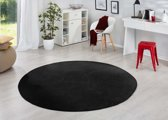 Modern effen vloerkleed rond Fancy - zwart 200 cm rond