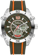 Colori Holland Sports 5-CLD112 - Horloge - siliconen band - groen/oranje- 49 mm