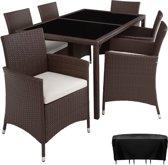 TecTake - wicker tuinset, tuinset met 6 stoelen + tafel, bruin, 402059