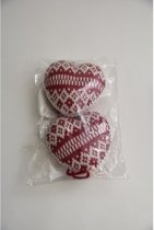 Kerstdecoraties - pb. a 2 knitted heart rood/wit